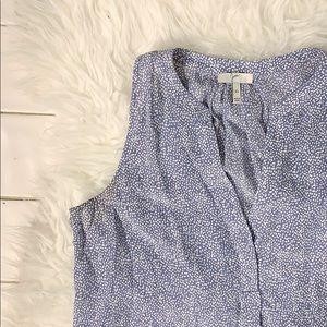 Joie Aruna Silk Sleeveless Blouse Blue Dot Tank
